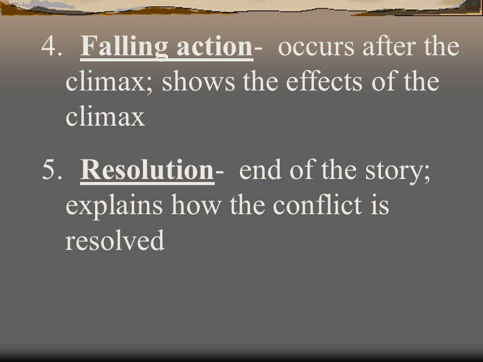 essay on the conflicts climax and resolution The resolution is part of a larger plot arc that begins by laying out a conflict and developing the characters' responses to that conflict the climax of a plot comes when the conflict reaches its most pressing point, and the resolution occurs where the conflict is resolved and the story's action ends for the main character or characters.