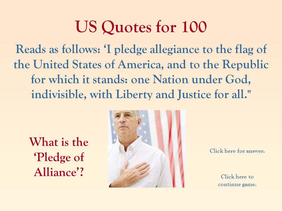 What is the 'Pledge of Alliance' Click here to continue game.