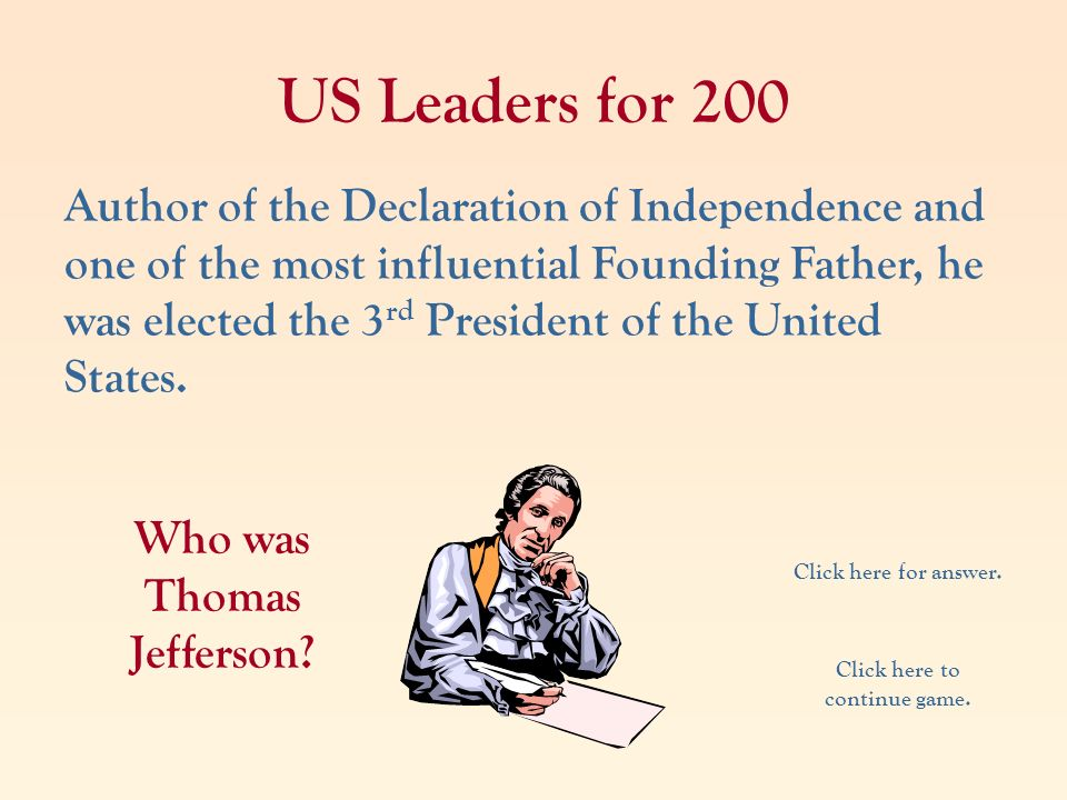 Who was Thomas Jefferson Click here to continue game.
