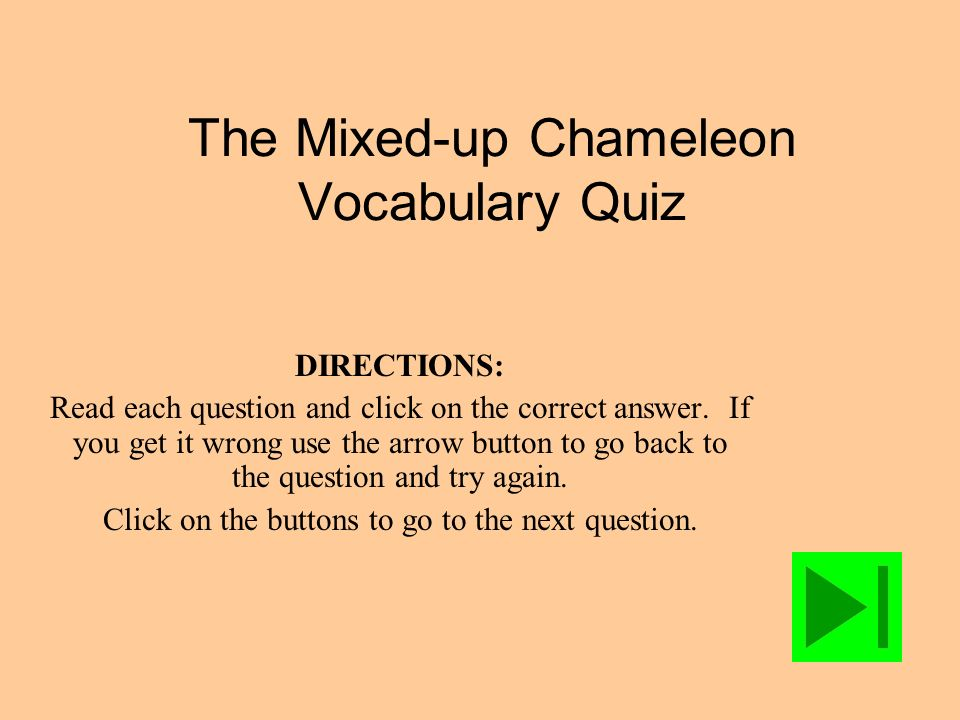 The Mixed-up Chameleon Vocabulary Quiz