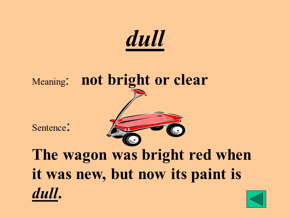 dull Meaning: not bright or clear.