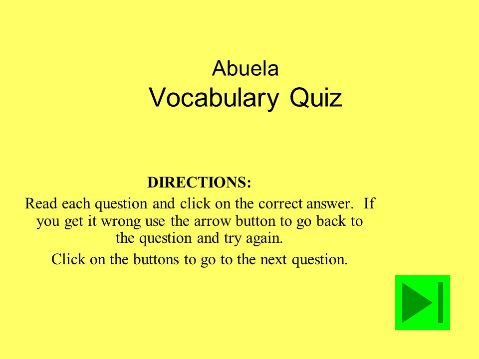 Abuela Vocabulary Quiz