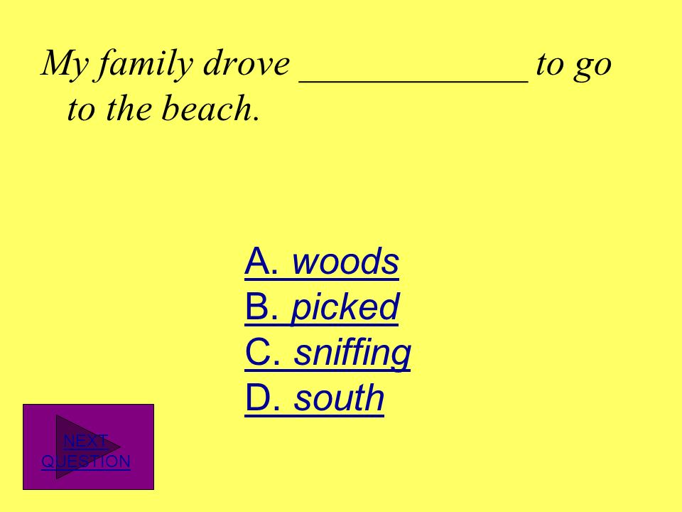 My family drove ____________ to go to the beach.