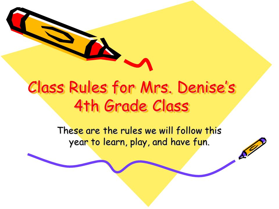 Class Rules for Mrs. Denise's 4th Grade Class