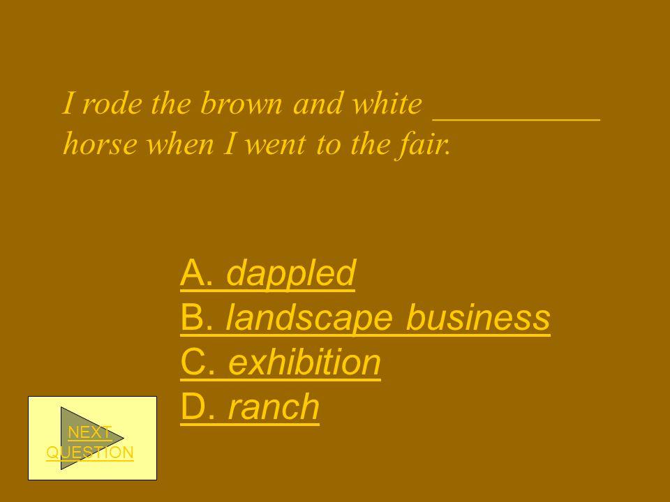 A. dappled B. landscape business C. exhibition D. ranch