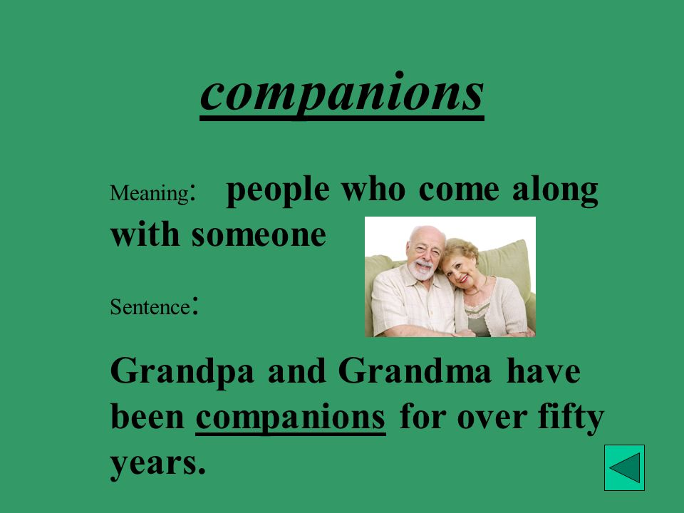 companions Meaning: people who come along with someone.