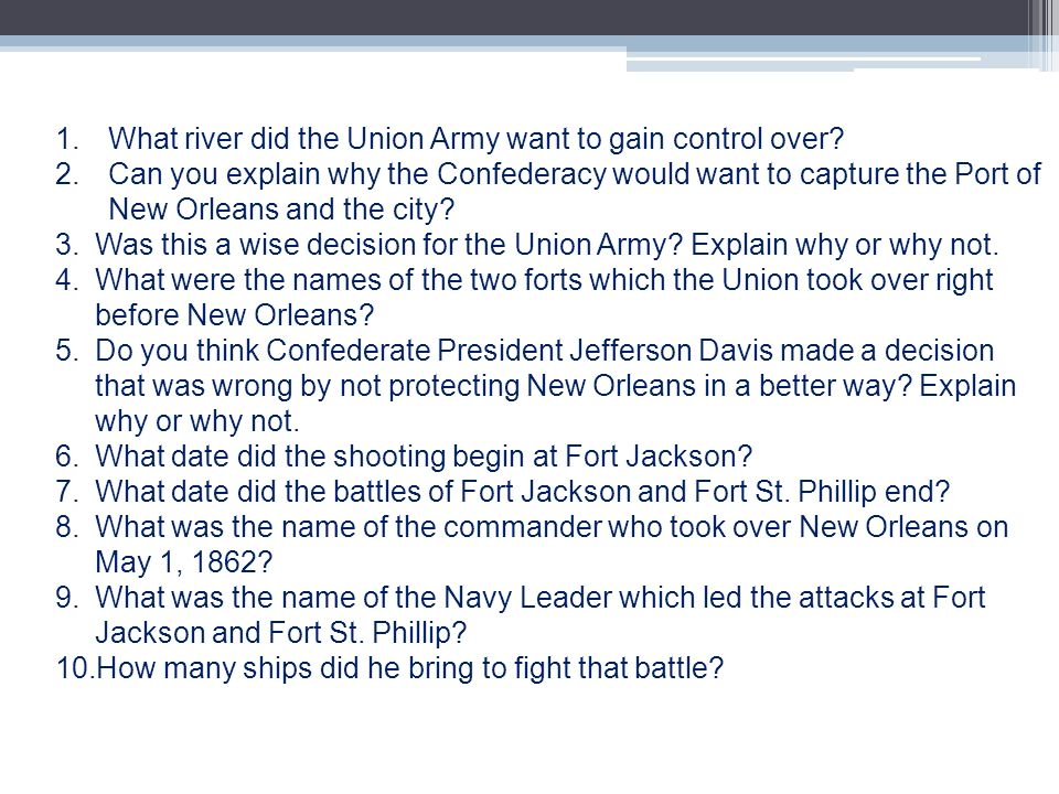 What river did the Union Army want to gain control over