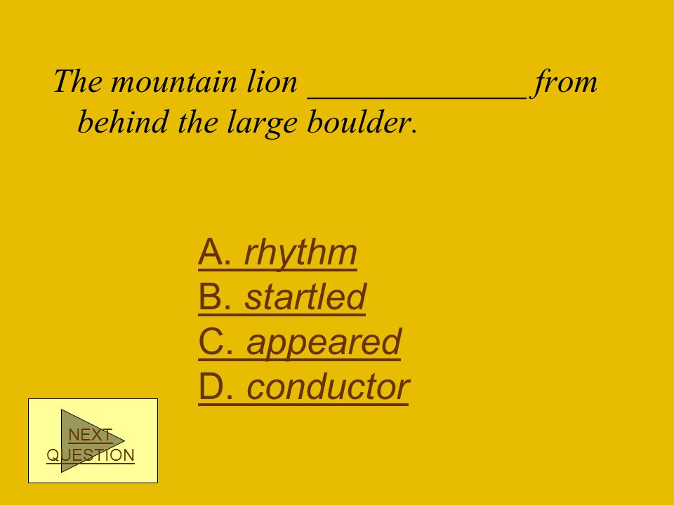 A. rhythm B. startled C. appeared D. conductor