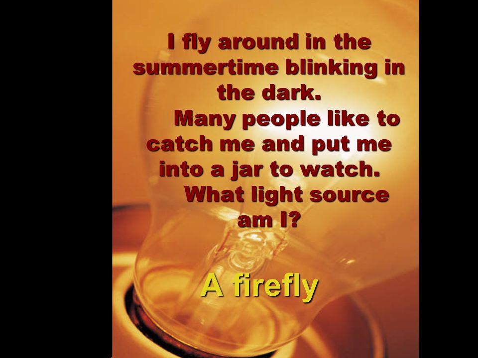 I fly around in the summertime blinking in the dark