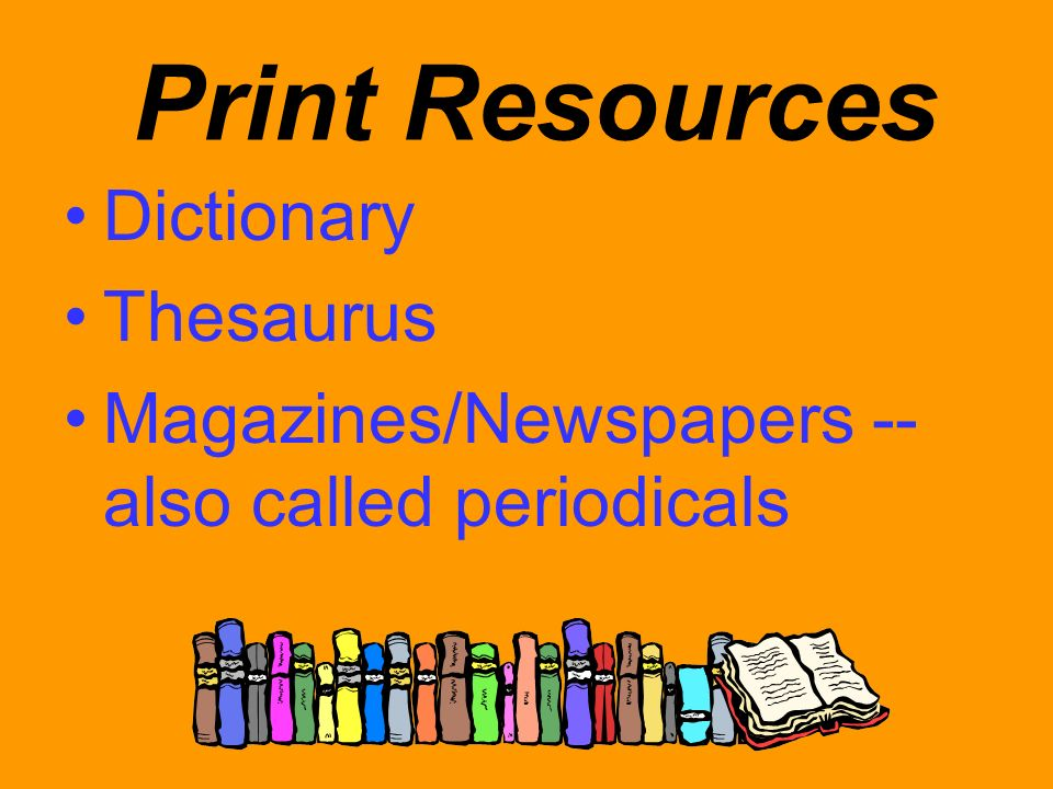 Print Resources Dictionary Thesaurus