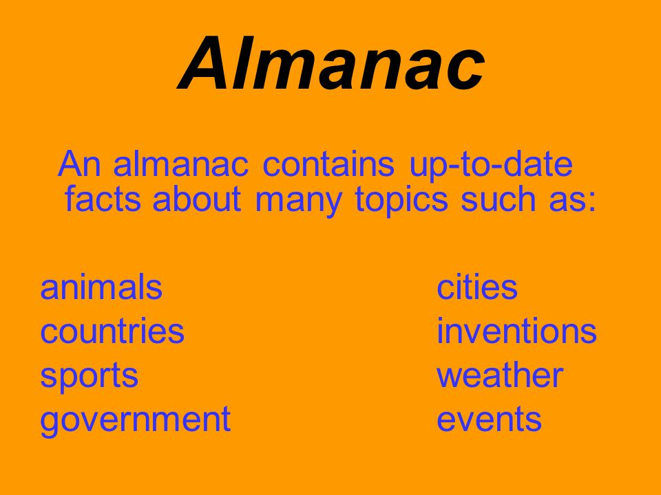 Almanac animals cities countries inventions sports weather
