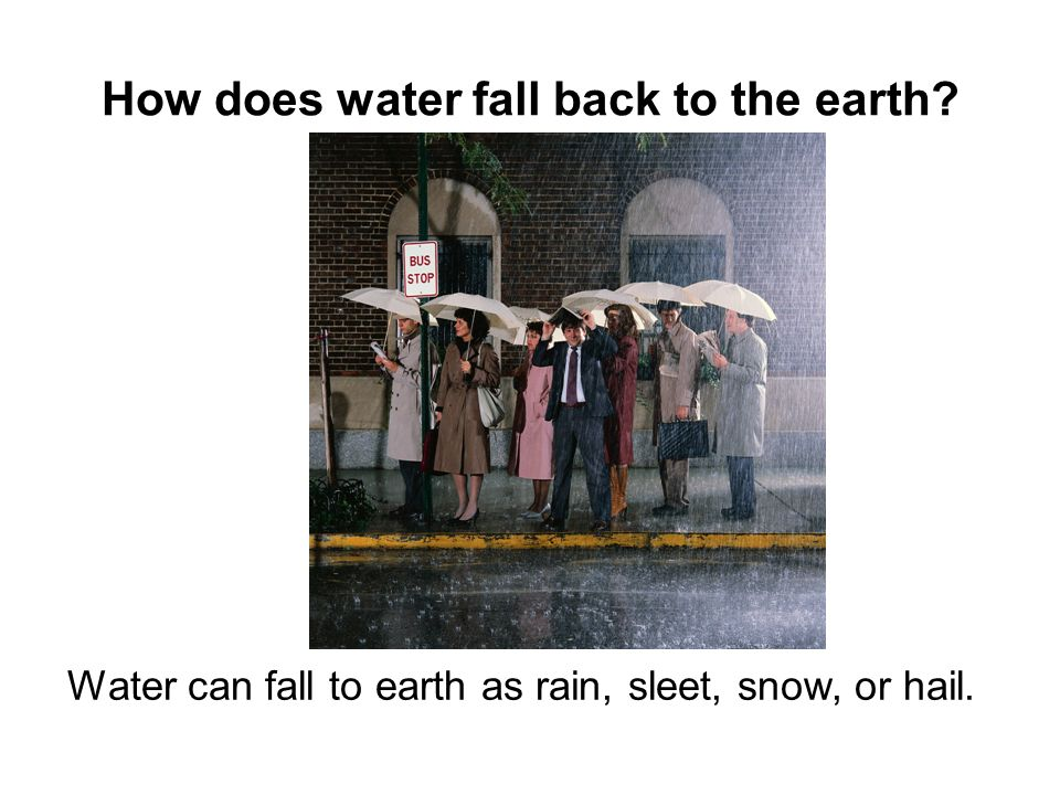 How does water fall back to the earth