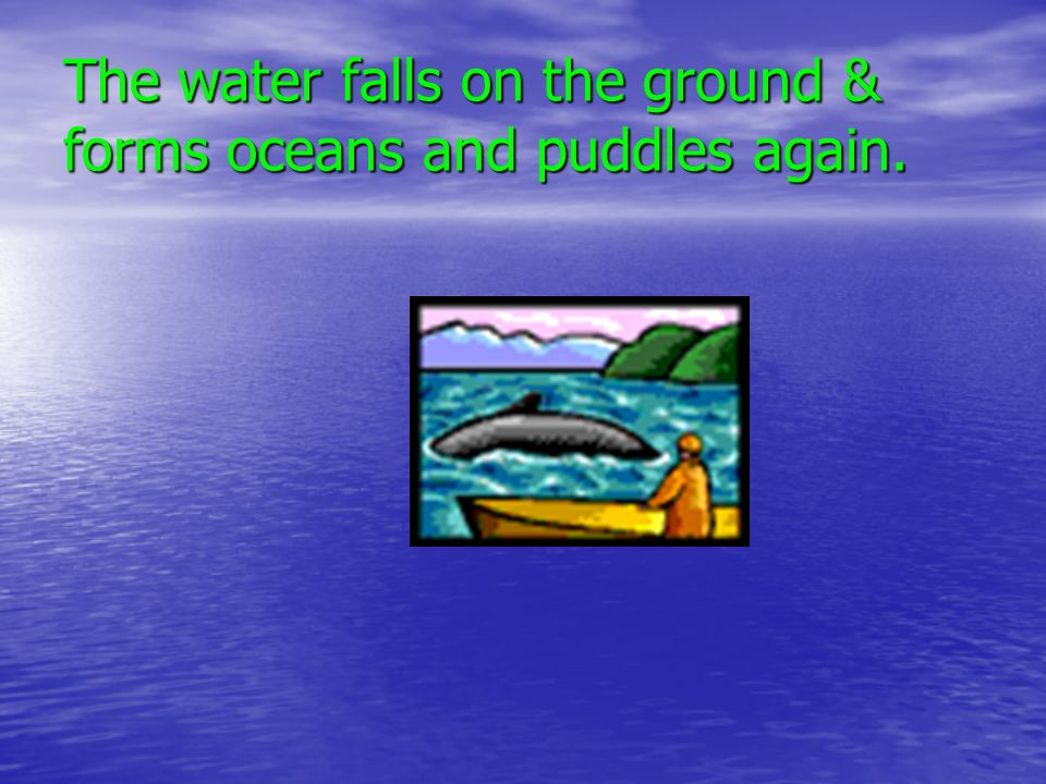 The water falls on the ground & forms oceans and puddles again.