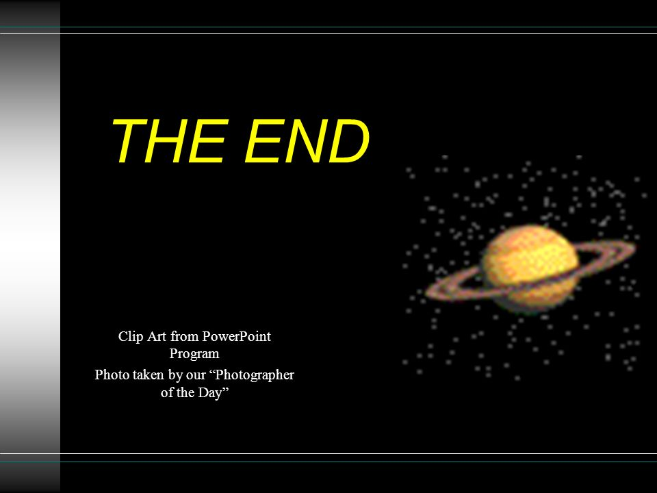 THE END Clip Art from PowerPoint Program