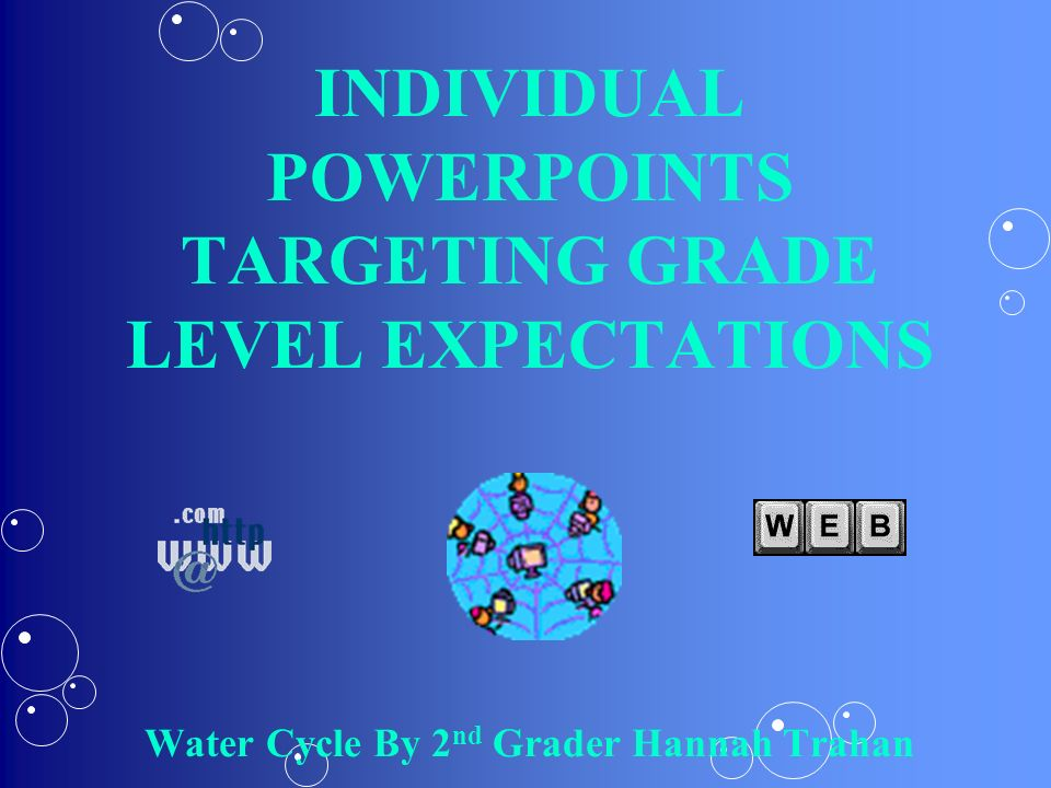 INDIVIDUAL POWERPOINTS TARGETING GRADE LEVEL EXPECTATIONS Water Cycle By 2nd Grader Hannah Trahan