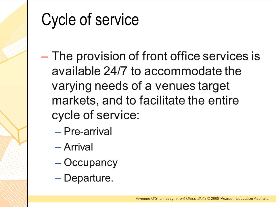 pre arrival front office Problem(s): having to wait for attendant upon arrival customer  properly staff  the front desk to accommodate number of arrivals touch point #6:.
