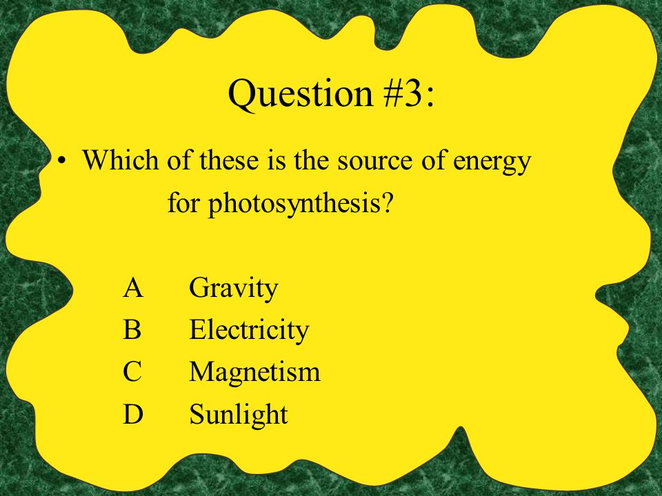 Question #3: Which of these is the source of energy