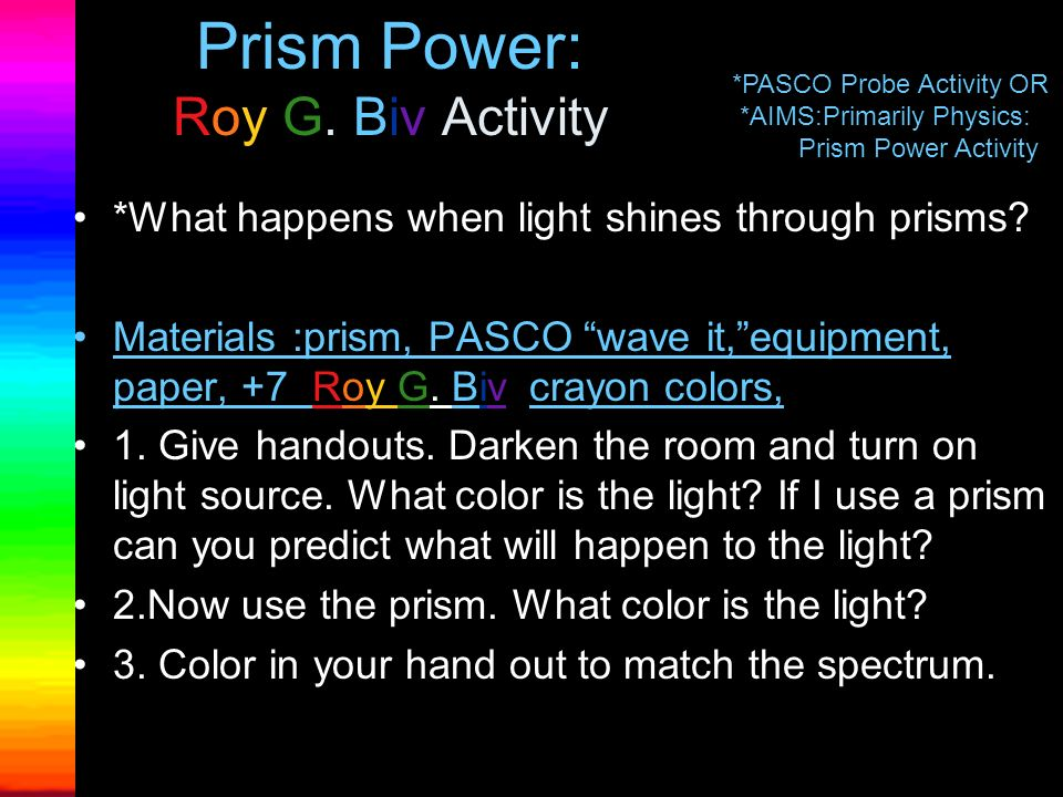 Prism Power: Roy G. Biv Activity