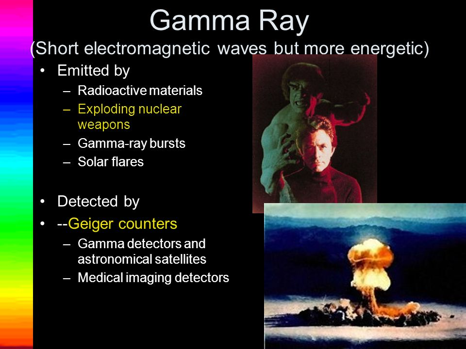 Gamma Ray (Short electromagnetic waves but more energetic)