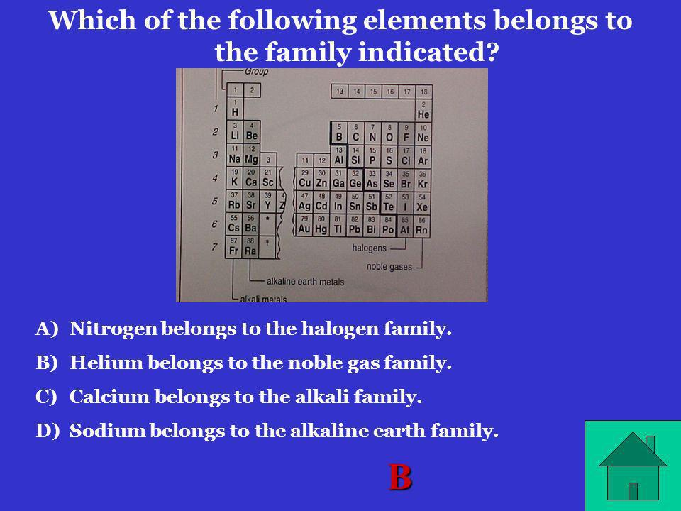 Which of the following elements belongs to the family indicated