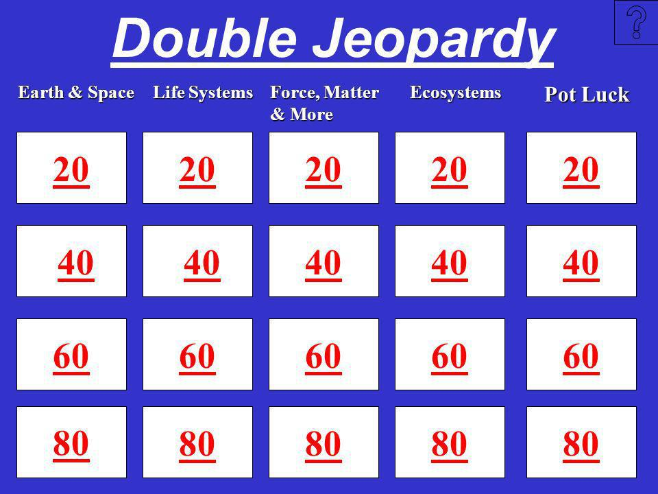 Double Jeopardy Earth & Space. Life Systems. Force, Matter & More. Ecosystems. Pot Luck.