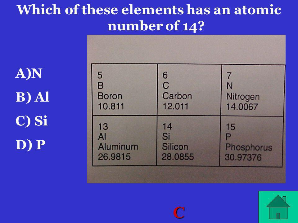 Which of these elements has an atomic number of 14