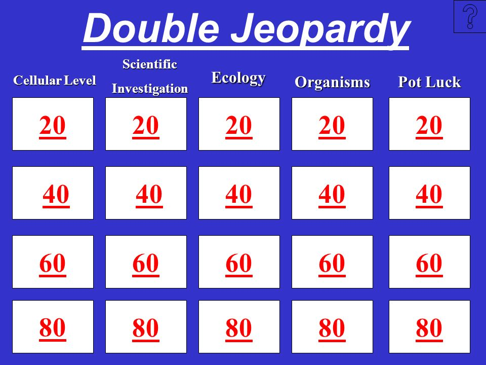 Double Jeopardy Scientific. Investigation. Ecology. Cellular Level. Organisms. Pot Luck. 20. 20.