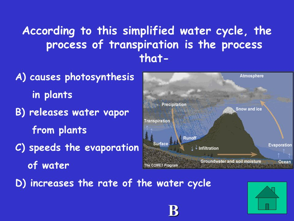 According to this simplified water cycle, the process of transpiration is the process that-