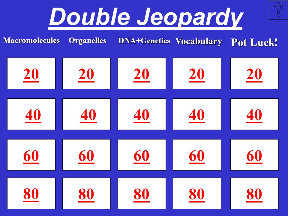 Double Jeopardy DNA+Genetics. Vocabulary. Macromolecules. Organelles. Pot Luck! 20. 20. 20. 20.