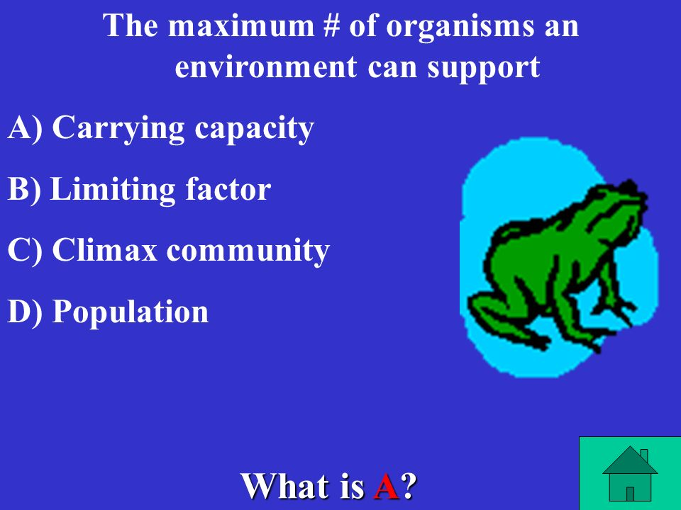 The maximum # of organisms an environment can support