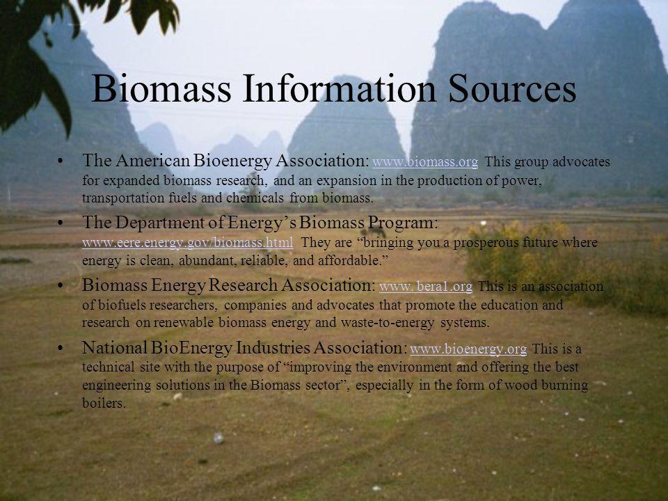 Biomass Information Sources