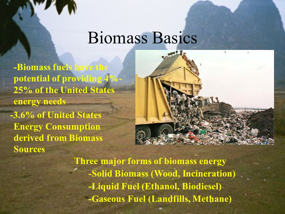 Biomass Basics -Biomass fuels have the potential of providing 4%-25% of the United States energy needs.