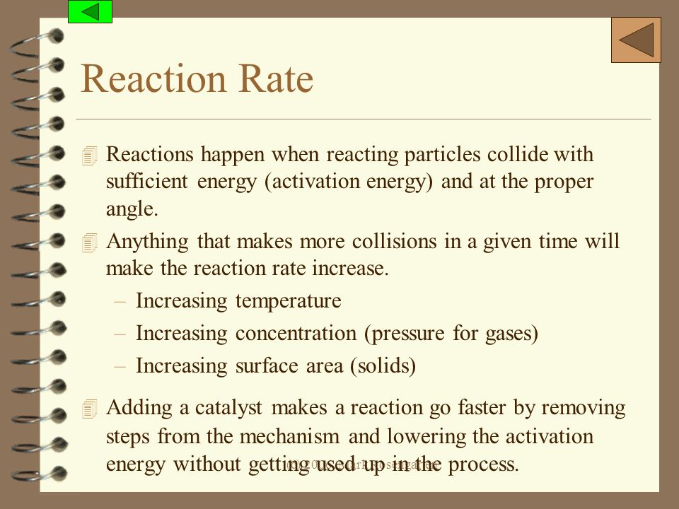 Reaction Rate Reactions happen when reacting particles collide with sufficient energy (activation energy) and at the proper angle.
