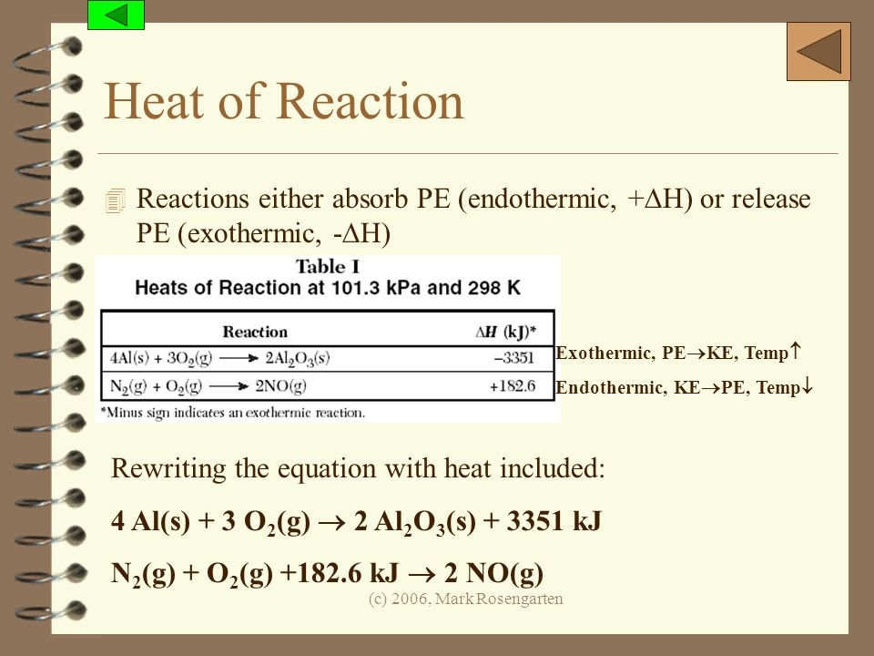 Heat of Reaction Reactions either absorb PE (endothermic, +DH) or release PE (exothermic, -DH) Exothermic, PEKE, Temp