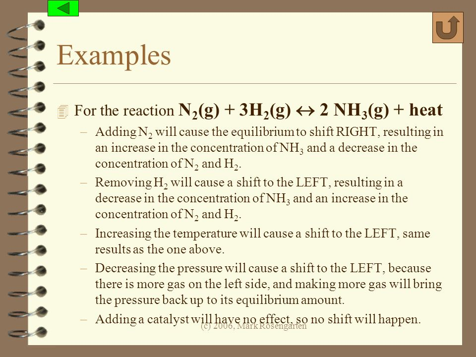 Examples For the reaction N2(g) + 3H2(g)  2 NH3(g) + heat