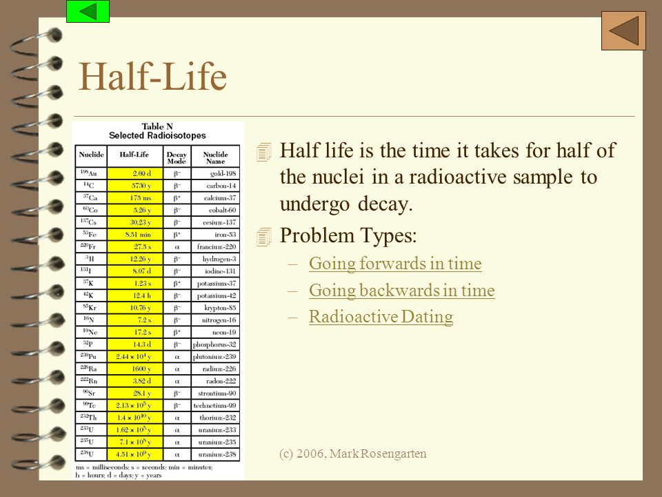 Half-Life Half life is the time it takes for half of the nuclei in a radioactive sample to undergo decay.