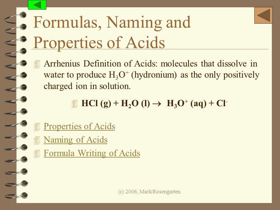 Formulas, Naming and Properties of Acids