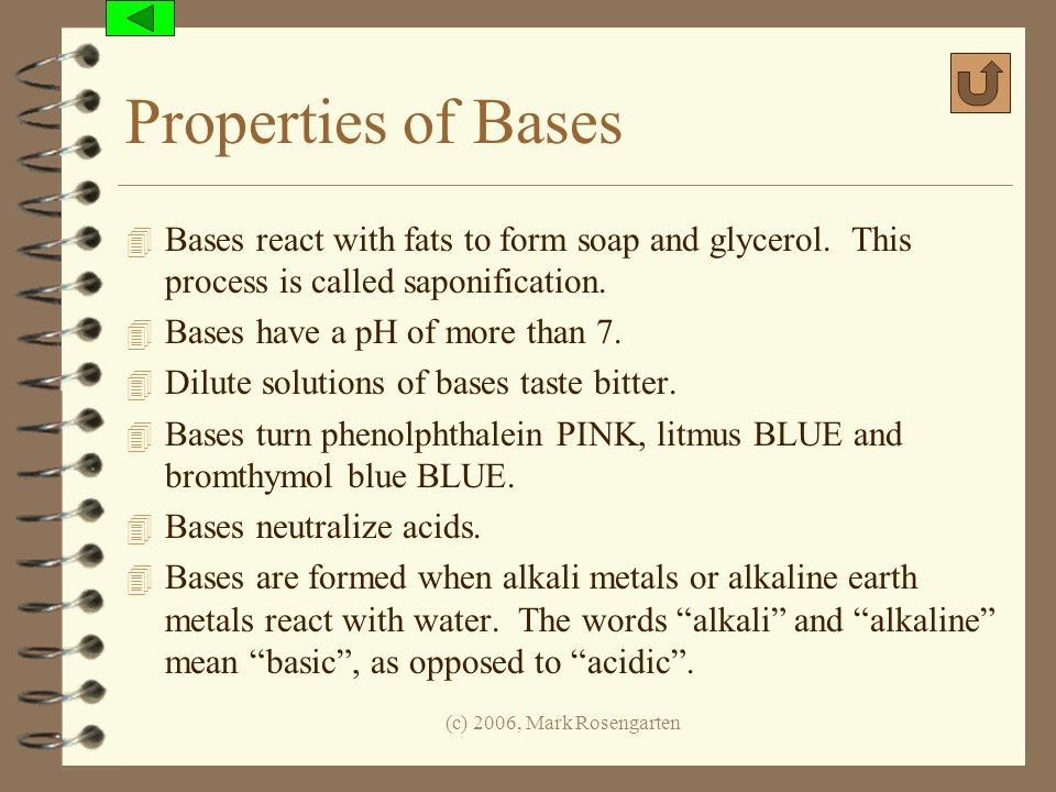 Properties of Bases Bases react with fats to form soap and glycerol. This process is called saponification.