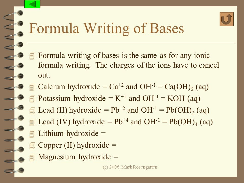 Formula Writing of Bases