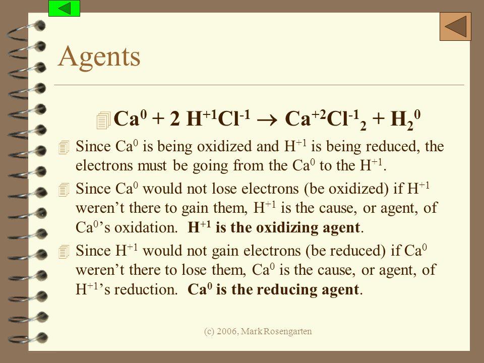 Agents Ca0 + 2 H+1Cl-1  Ca+2Cl-12 + H20