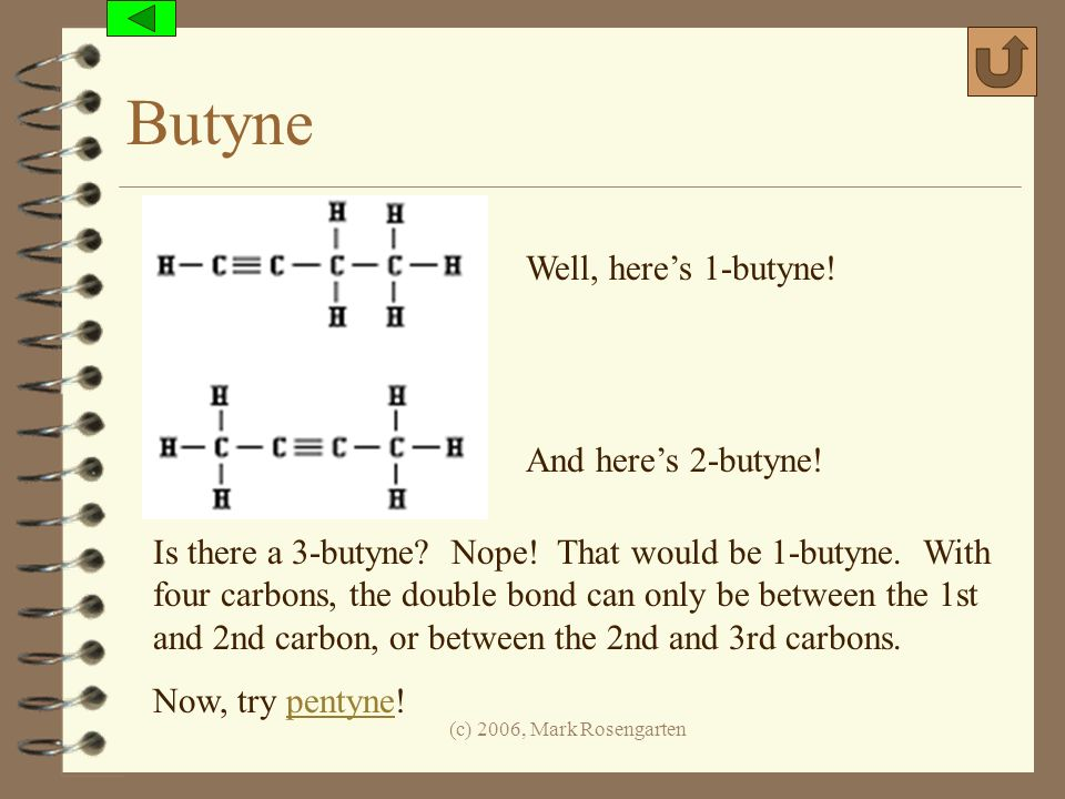 Butyne Well, here's 1-butyne! And here's 2-butyne!
