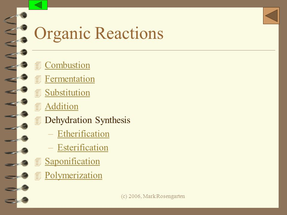 Organic Reactions Combustion Fermentation Substitution Addition