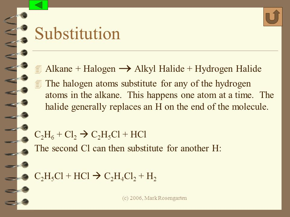 Substitution Alkane + Halogen  Alkyl Halide + Hydrogen Halide