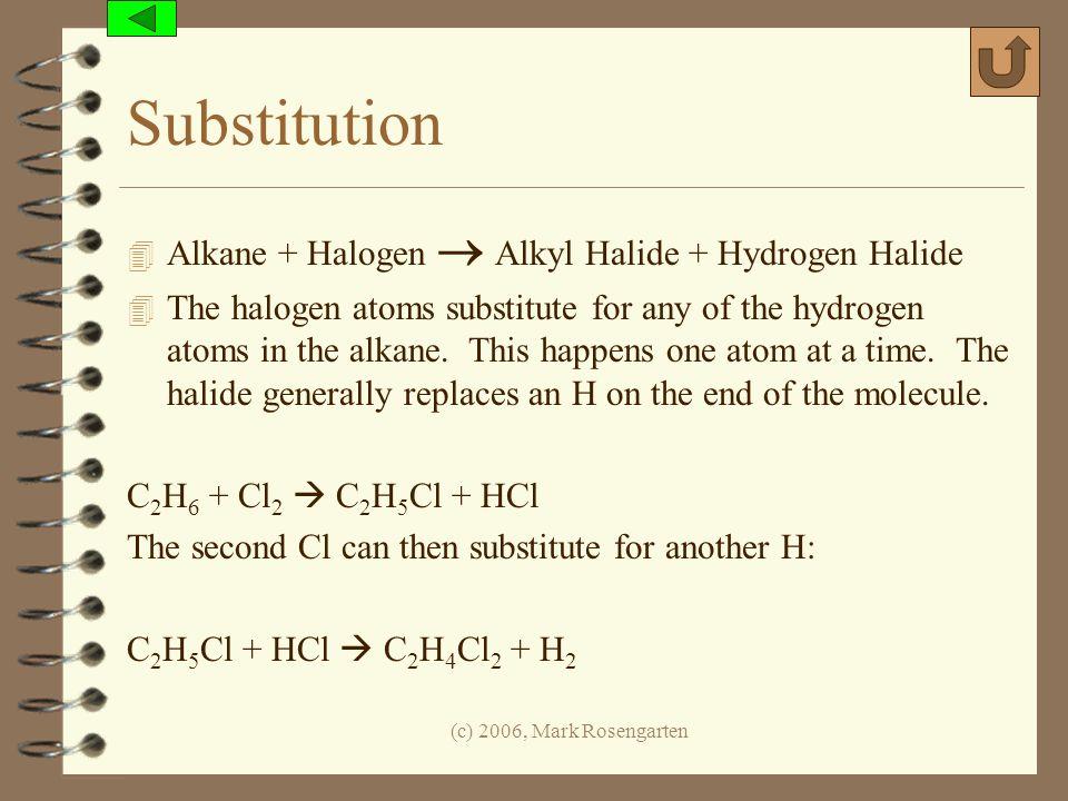 Substitution Alkane + Halogen  Alkyl Halide + Hydrogen Halide