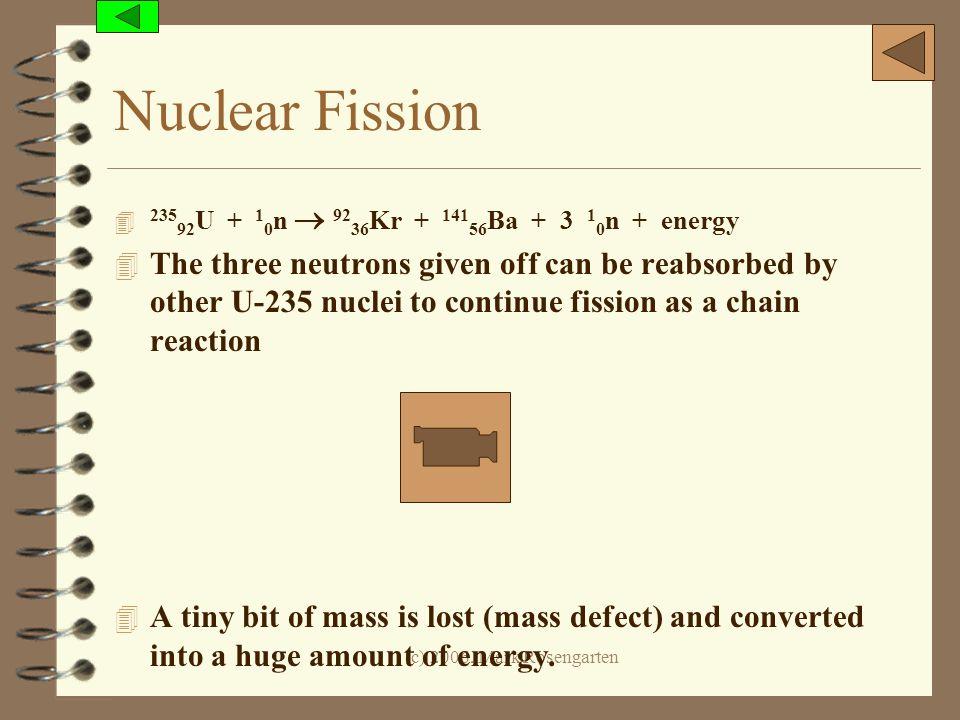 Nuclear Fission 23592U + 10n  9236Kr + 14156Ba + 3 10n + energy.