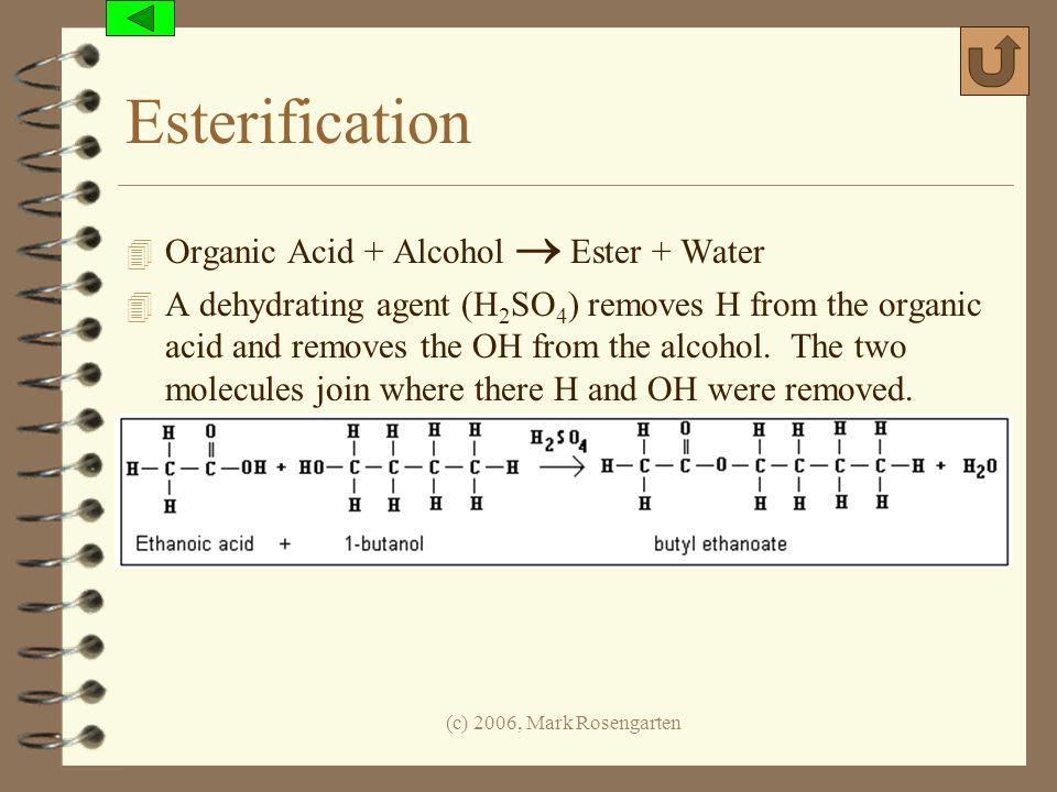 Esterification Organic Acid + Alcohol  Ester + Water