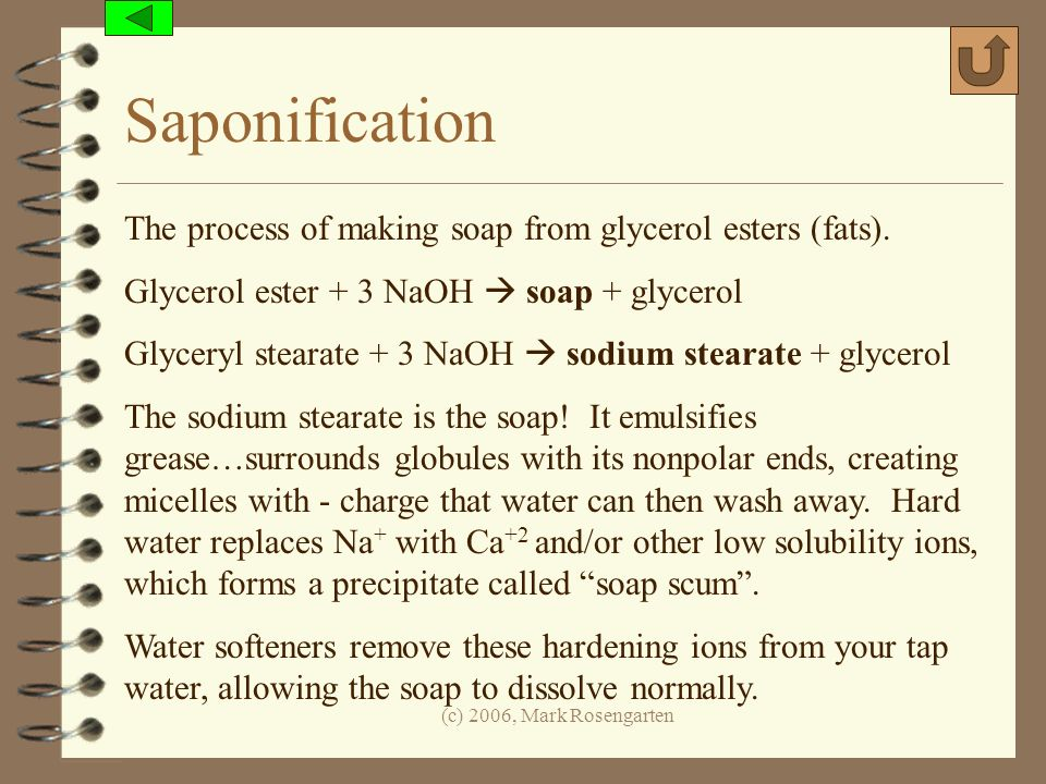 Saponification The process of making soap from glycerol esters (fats).