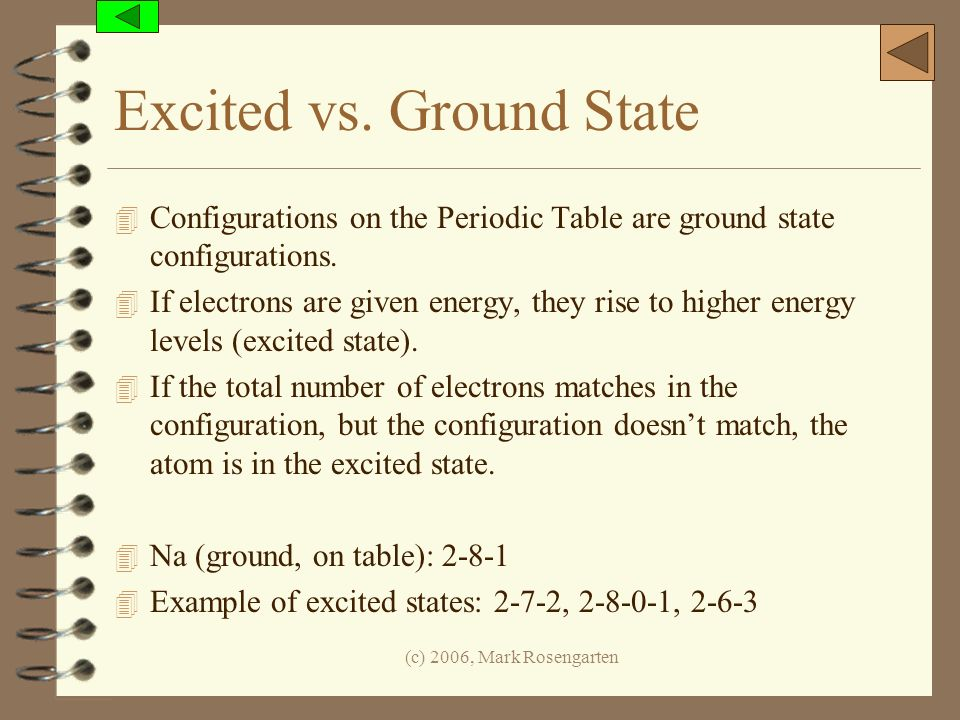 Excited vs. Ground State