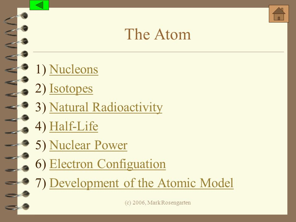 The Atom 1) Nucleons 2) Isotopes 3) Natural Radioactivity 4) Half-Life