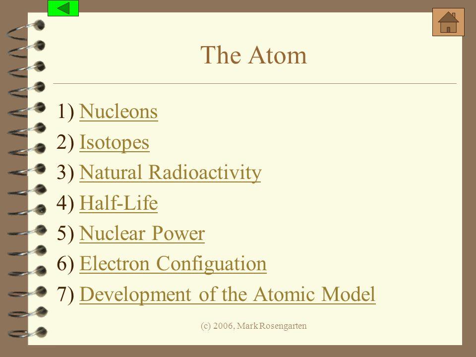 The Atom 1) Nucleons 2) Isotopes 3) Natural Radioactivity 4) Half-Life